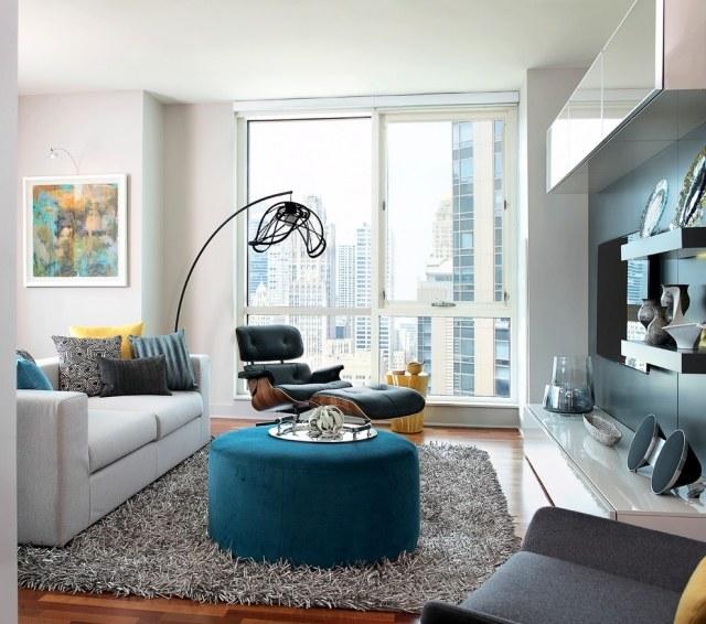 Tapis gris salon qui rend latmosphre lgante et moderne