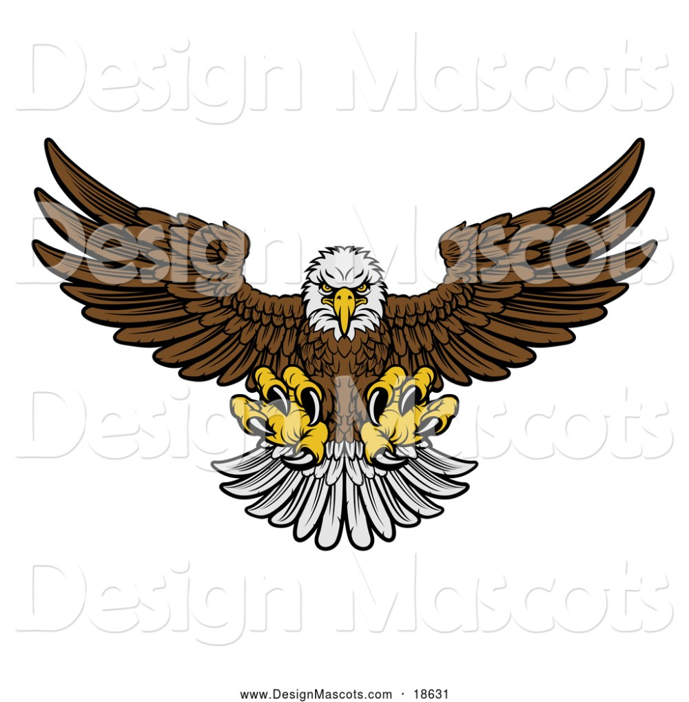 medium resolution of illustration of a fierce swooping bald eagle mascot with talons extended flying forward