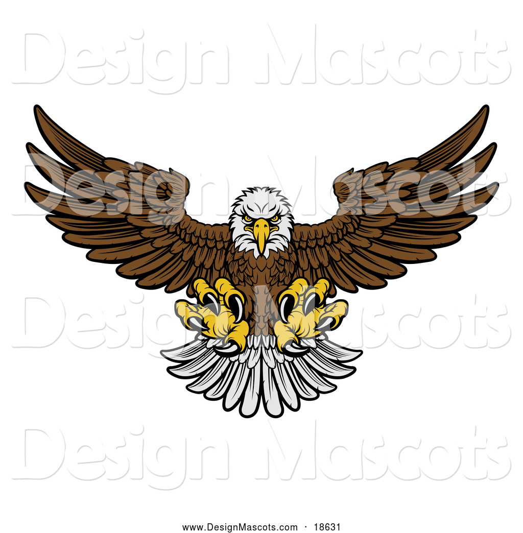 hight resolution of illustration of a fierce swooping bald eagle mascot with talons extended flying forward