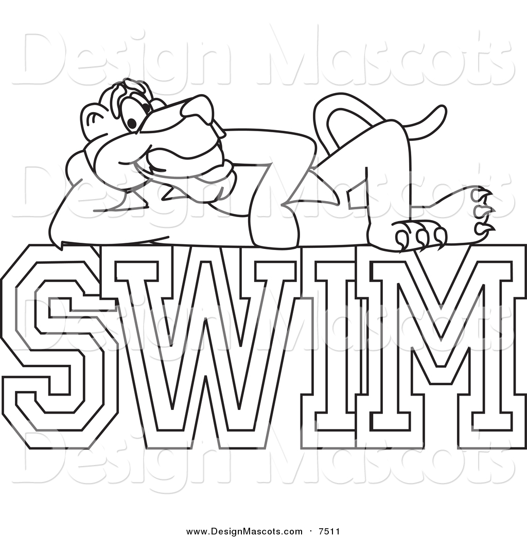 Illustration Of A Panther Mascot On Swim Text By Toons4biz