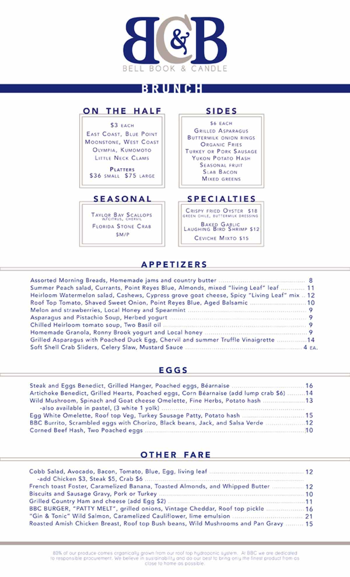 Bell Book & Candle Restaurant Menu Design