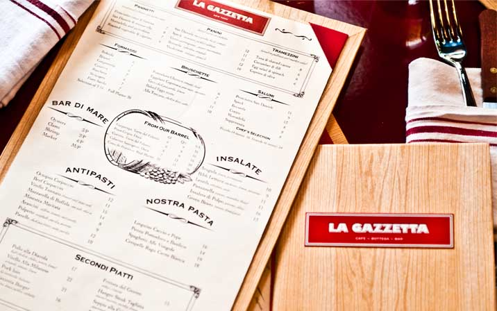 Portfolio Design Mastermind La Gazetta Menu Design