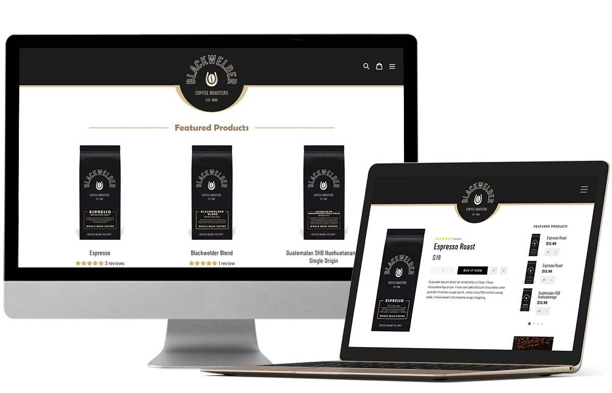 Portfolio Design Mastermind Blackwelder Coffee Company Website design & Branding