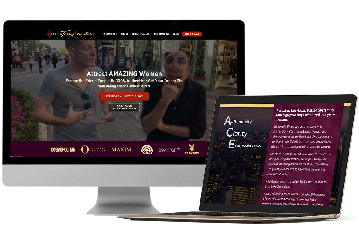 Website redesign, sales pages & social media graphics for NYC dating coach Connell Barrett / Dating Transformation by Laura Patricelli of Design Mastermind