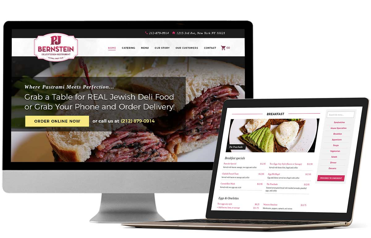 Branding, website and menu design for New York City Manhattan Upper East Side restaurant deli