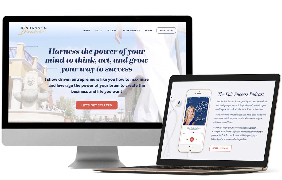 Website redesign, sales pages & social media graphics for mindset coach Dr. Shannon Irvine by Laura Patricelli of Design Mastermind