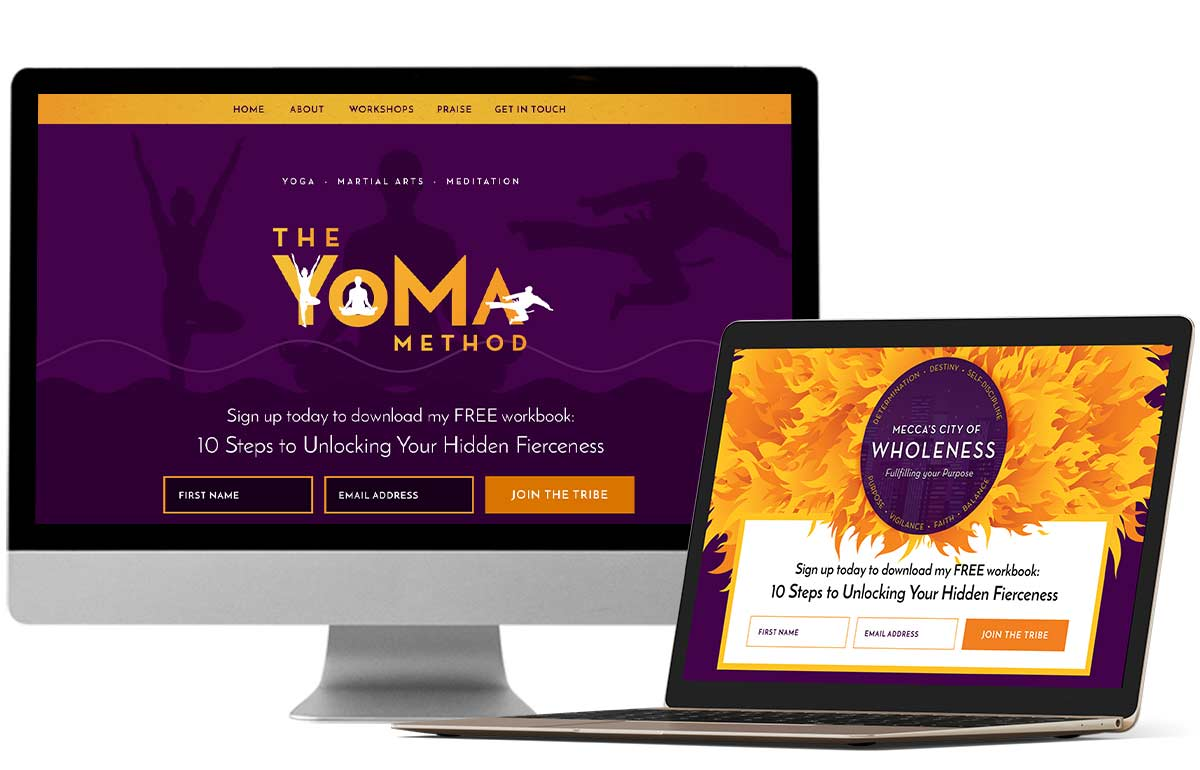Website design for yoga instructor & community leader Mecca Nelson by Laura Patricelli of Design Mastermind