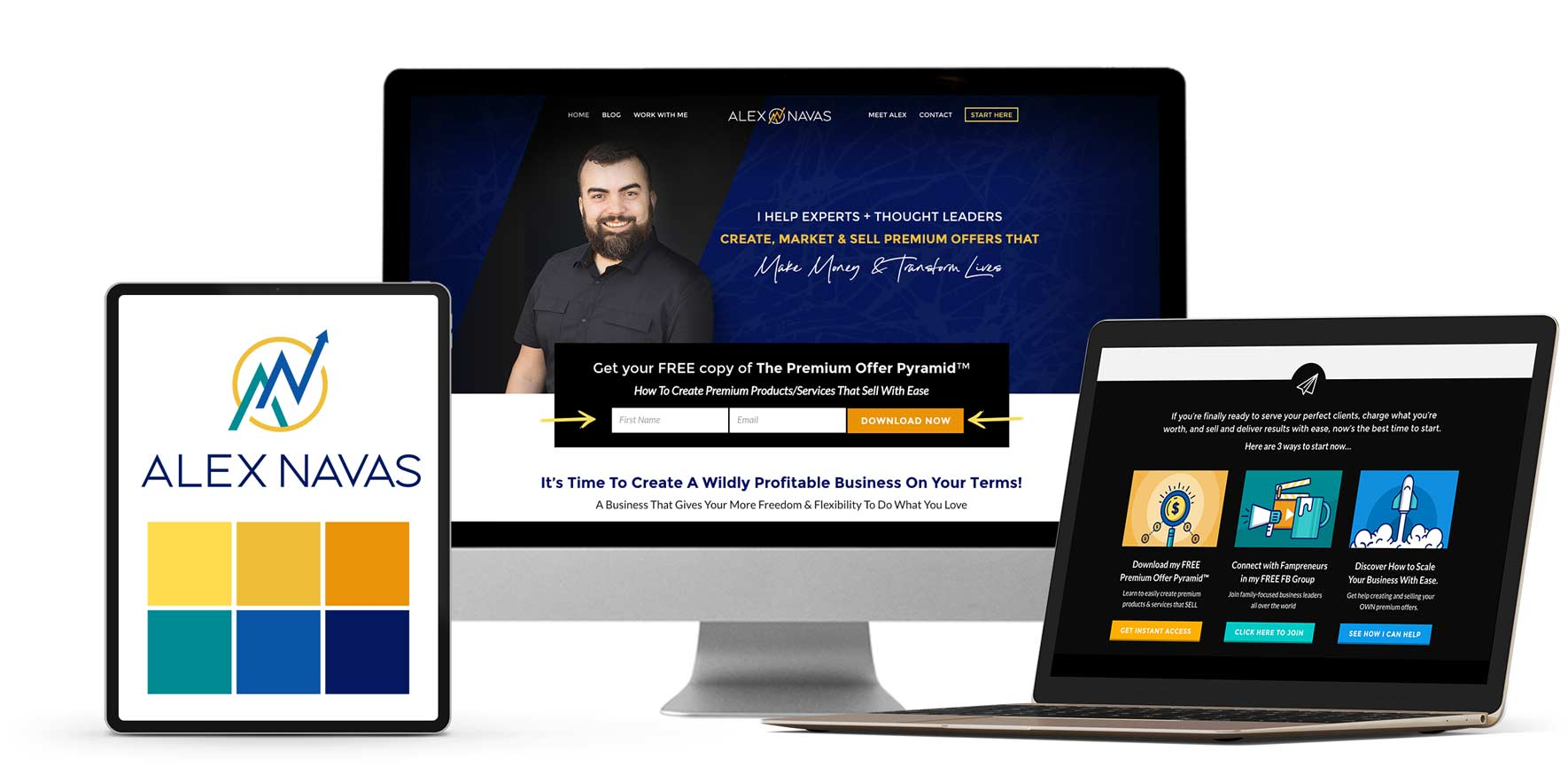 Branding, website & sales page redesign for business & Marketing Coach Alex Navas