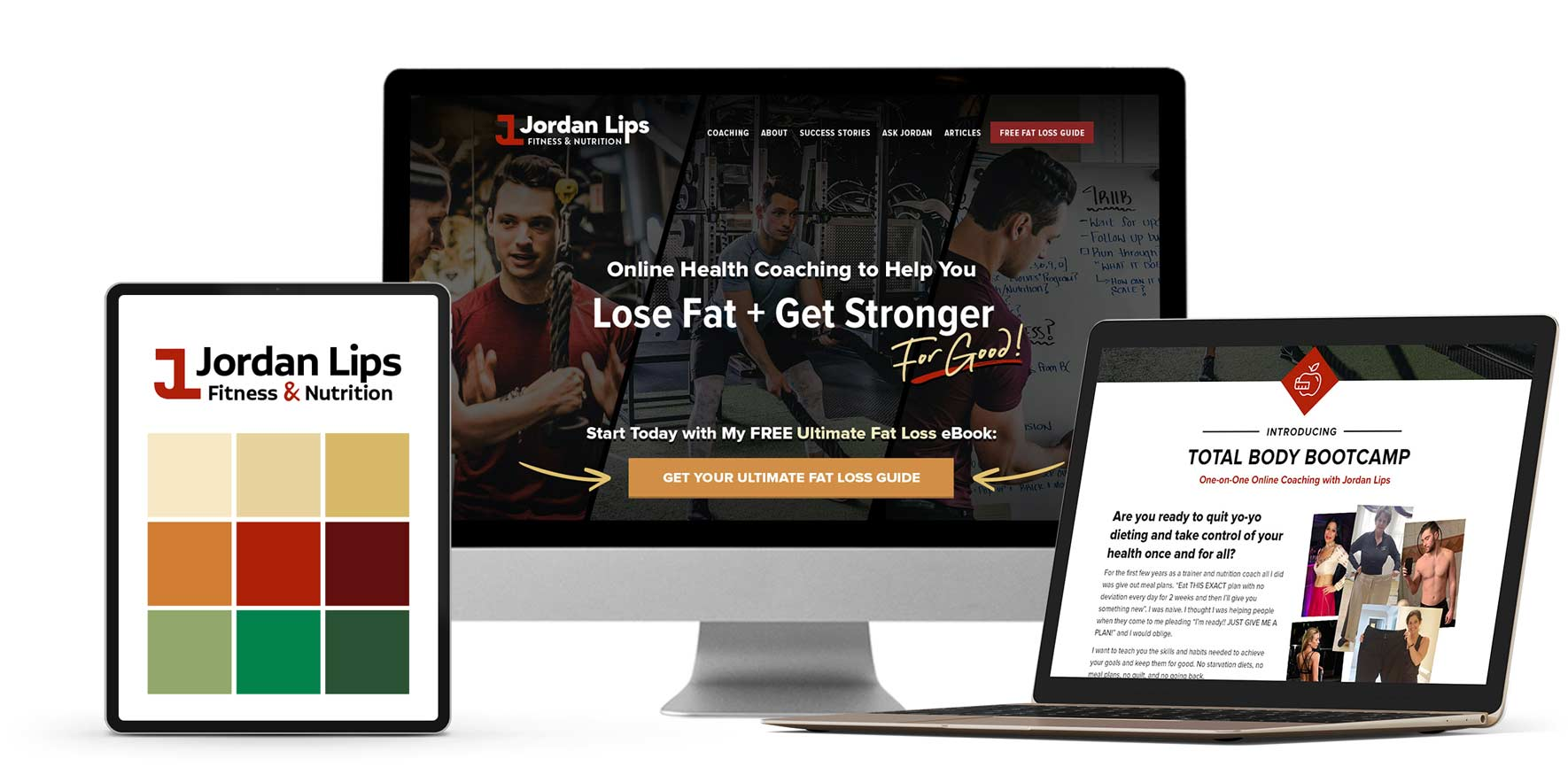 Branding and website design for online fitness coach Jordan Lips
