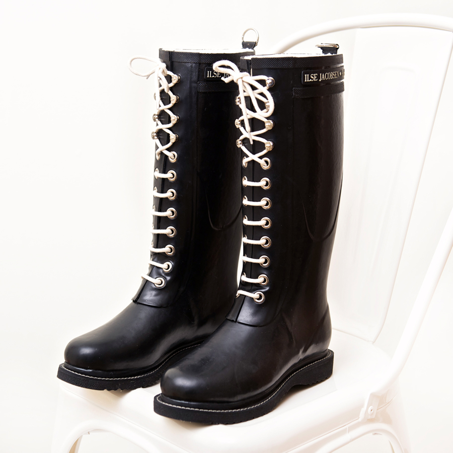 Tall Classic Rubber Boots With Laces By Ilse Jacobsen
