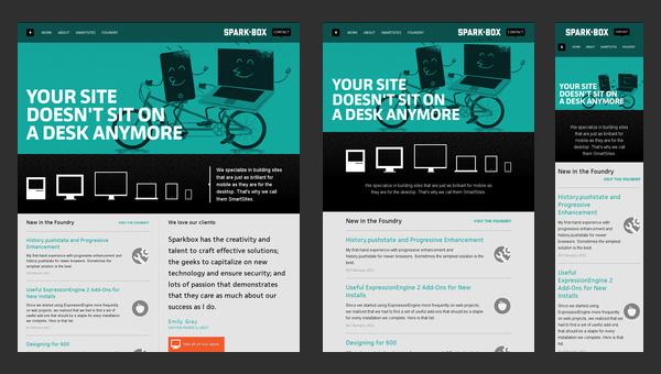 Sparkbox's website as viewed on desktop/laptop, tablet, and smart phone.