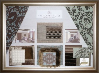 A sample / concept board that formed part of a proposed interior upgrade of one of South Africa's oldest hotels.