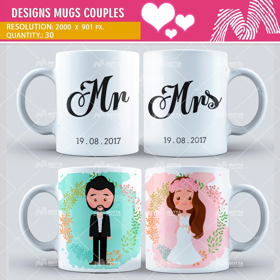 Design for Sublimation Mugs of Couples | Design Motta