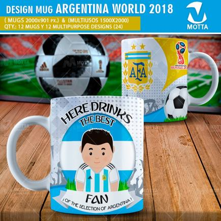 DESIGN OF MUGS THE BEST FAN OF ARGENTINA IN RUSSIA 2018