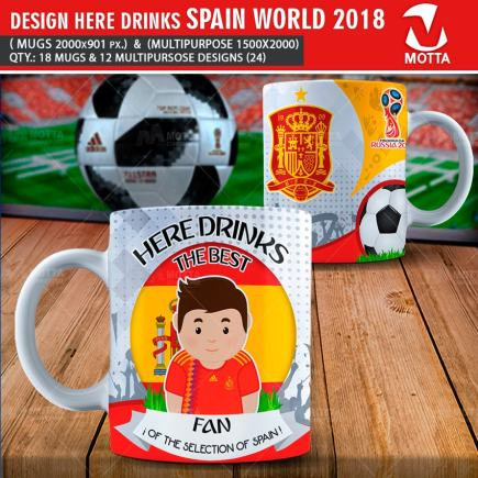 DESIGN OF MUGS THE BEST FAN OF SPAIN IN RUSSIA 2018