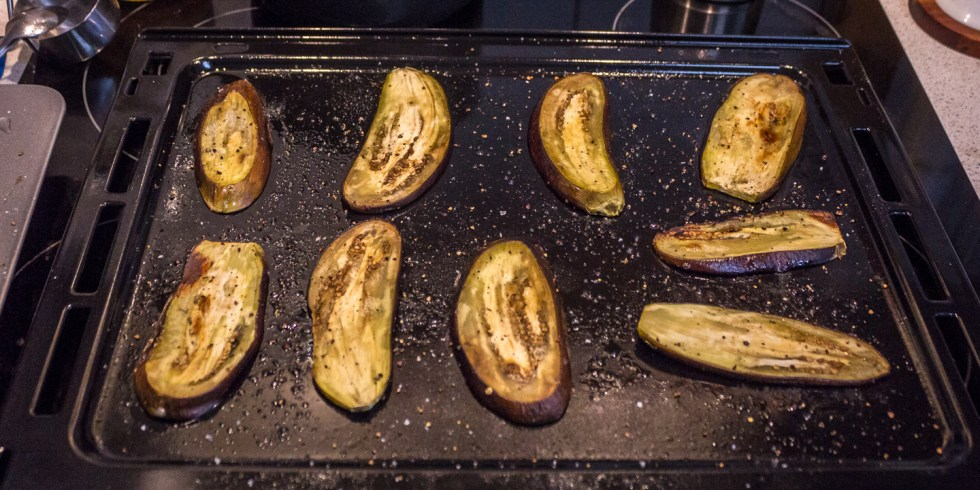 Eggplant after 20 mins in the oven at 205 C