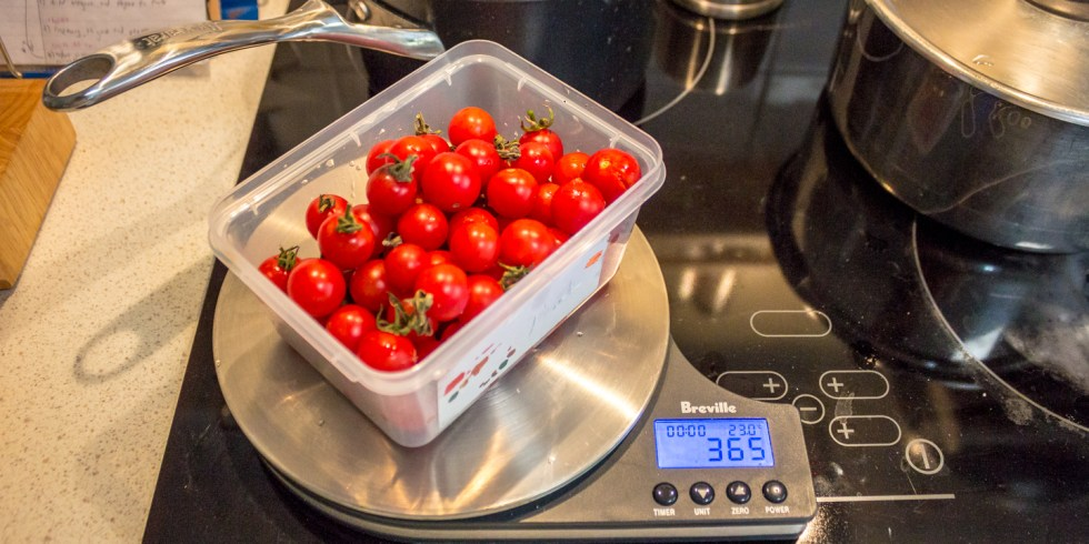 Cherry tomatoes weighing in at 365 g