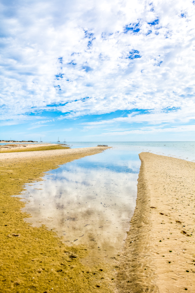 the blue cloudy sky is reflected in the pool of water surrounded by the yellow sandy beach, Denham, Western Australia