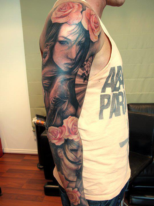 Portrait Sleeve Tattoos : portrait, sleeve, tattoos, Flower, Portrait, Sleeve, Tattoo, Design, TattoosDesign, Tattoos