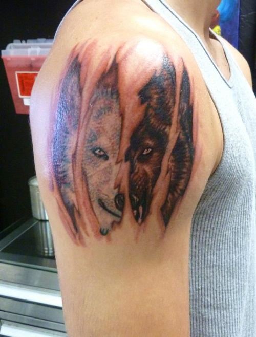 Black And White Wolf Tattoo