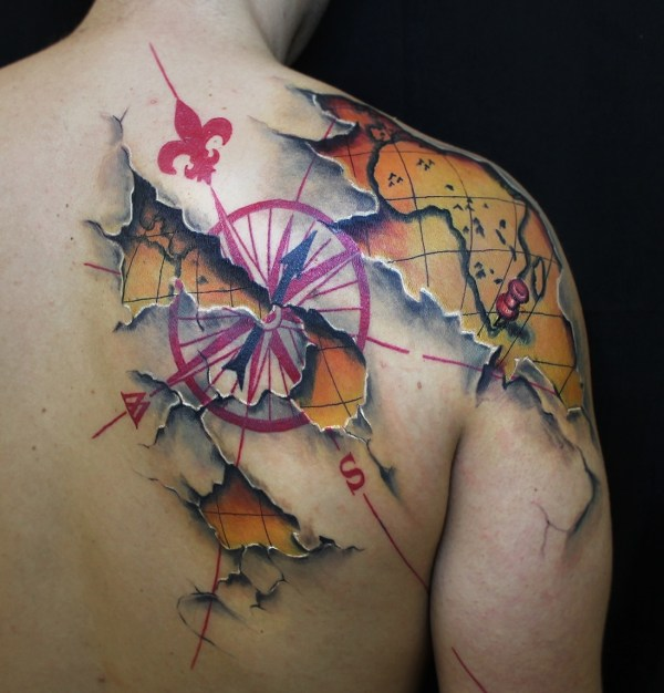 Map and Compass Tattoo Designs