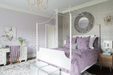 Purple Wall Design For A Bedroom