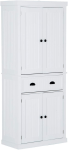 View Homcom 72 Traditional Colonial Standing Kitchen Pantry Cupboard Cabinet – White Pics