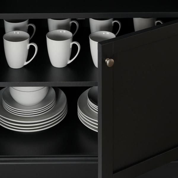 Stylewell Stylewell Black Wood Transitional Kitchen Pantry 46 In W X 36 In H Sk19312br1 B The Home Depot