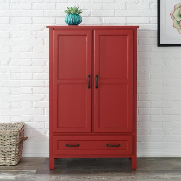 Reviews For Stylewell Stylewell Chili Red Wood Kitchen Pantry 30 In W X 47 In H Sk19304c1r1 C The Home Depot