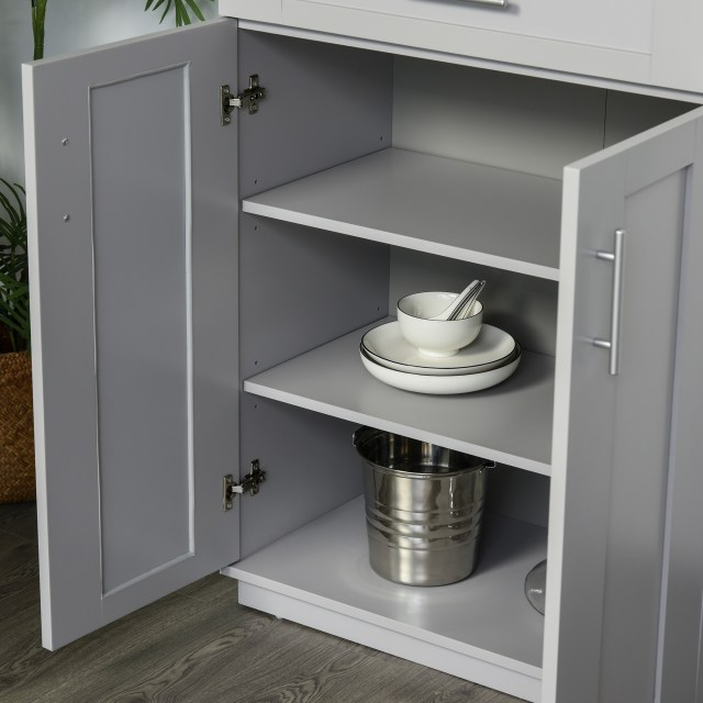 Homcom Modern Kitchen Pantry Freestanding Cabinet Cupboard With Doors And Shelves Adjustable Shelving Grey Pantry Buffet Aosom