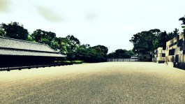 The parade square where soldier are trained, those are guardhouses on the left