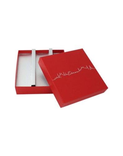 Rigid box with separators and hot foil print