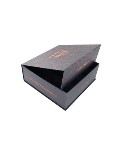 Hot foil print pattern and magnetic fastening, rigid gift box for two glasses and a bottle, padded inside, measurements 320x320x120mm