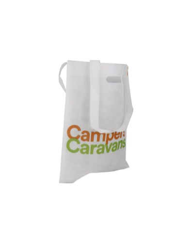 Non-woven bag with die cut and long handles made out of recycled plastic
