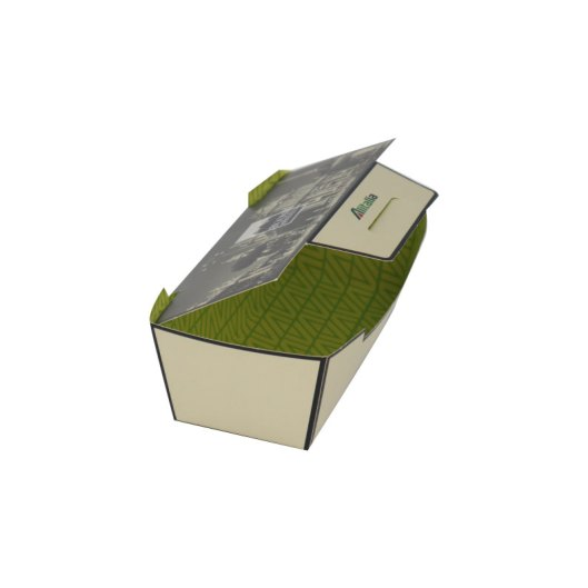 Laminated food box with inside and outside print