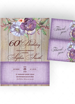 60th purple flower birthday invitation
