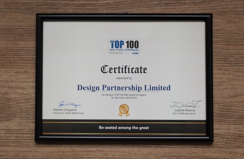 Top 100 Mid-Sized Companies in Kenya 2018/2019 Certificate