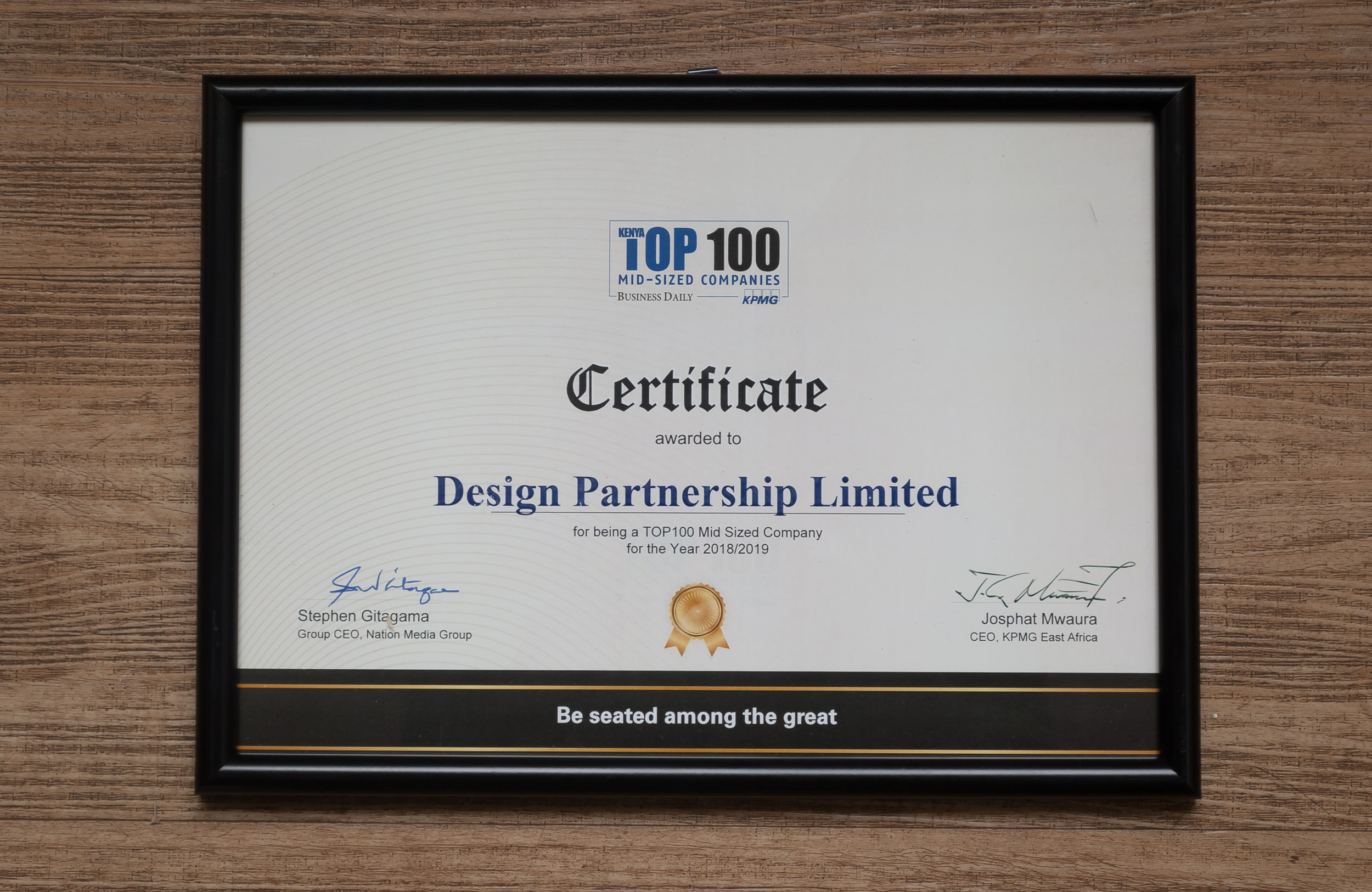 Top 100 Mid-Sized Companies in Kenya 2018/2019 Certificate