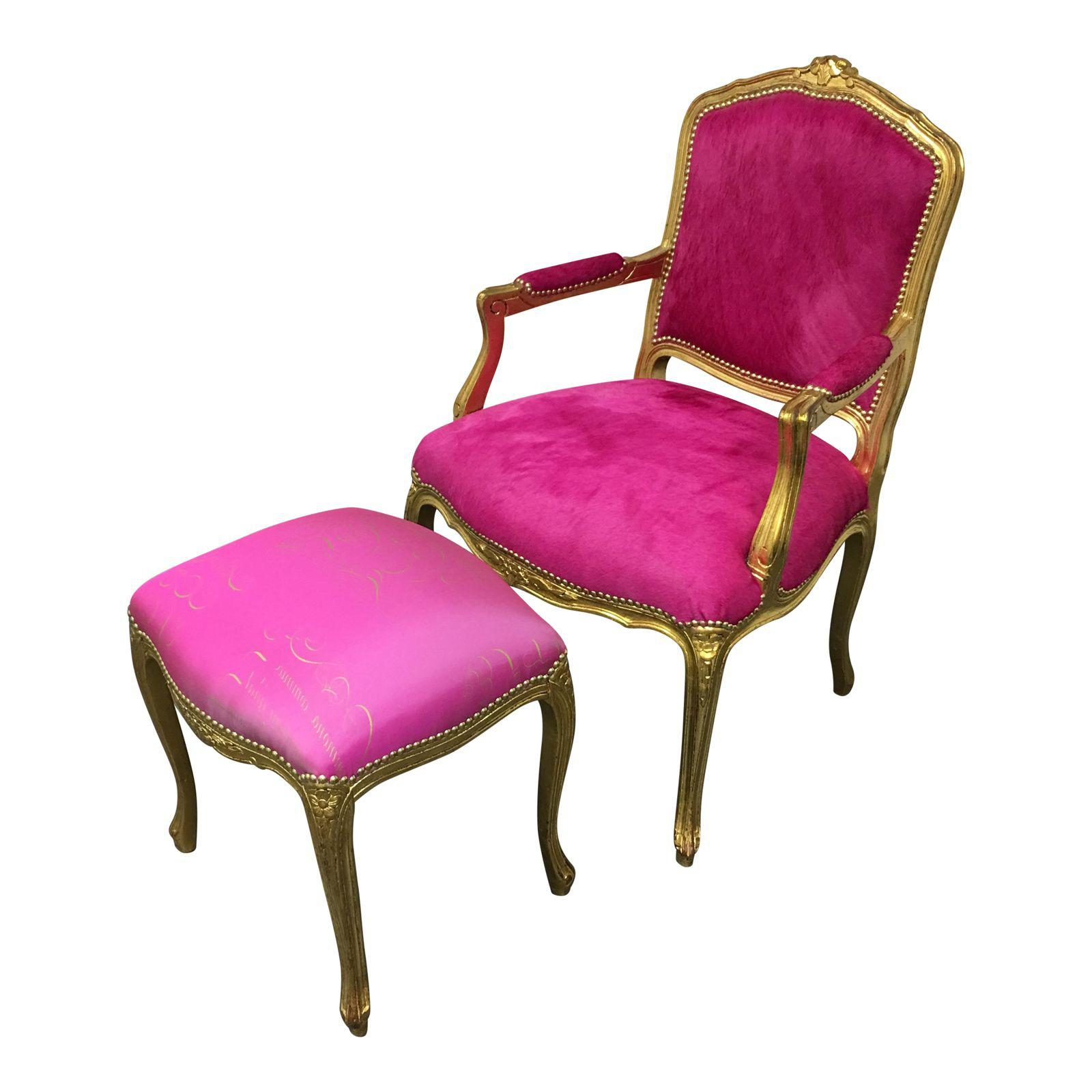 chair design gold costco fold up chairs custom fuschia color upholstered leaf and