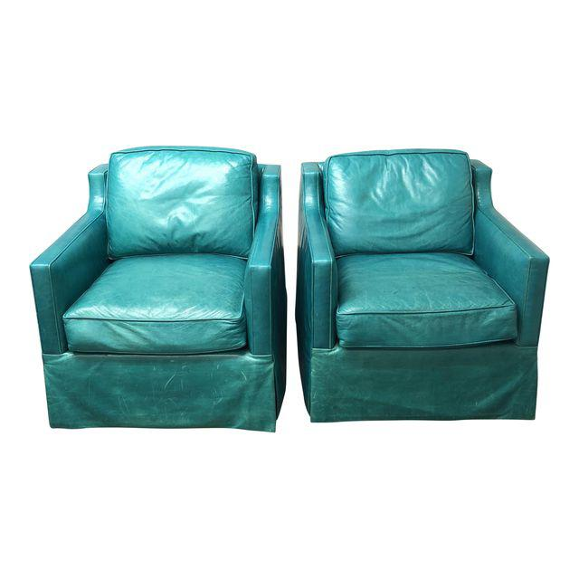 turquoise chairs leather black ghost chair pair of custom swival arm design plus gallery contemporary a