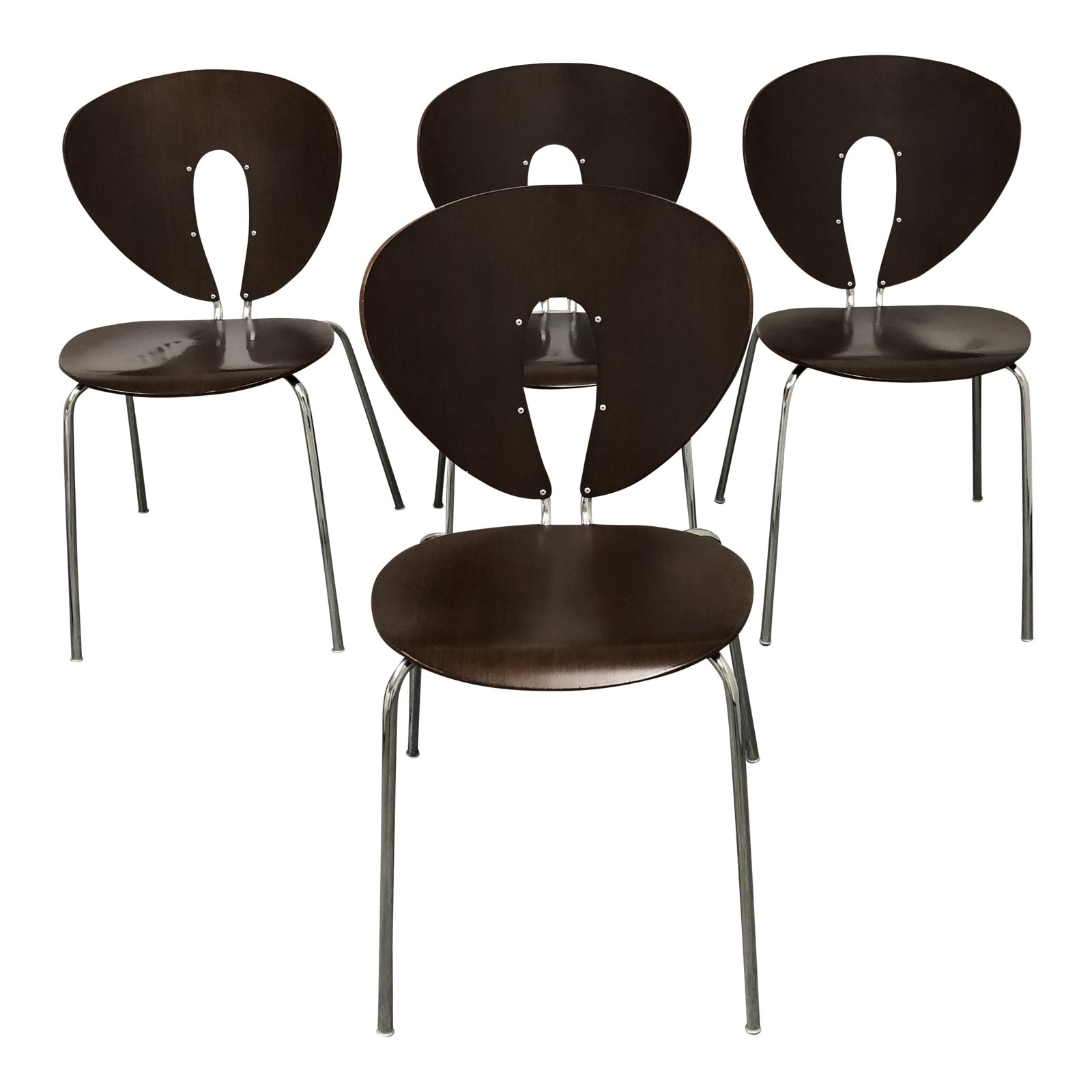 design within reach chair walnut swing 2f xxl set of four global chairs