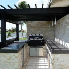 Backyard Kitchen Designs Lights Under Cabinets 40 Fantastic Outdoor Examples Slodive Pergola Stacked Stone