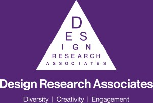 "The letters ""design research Associates"" arranged in a triange like a sight-test chart"