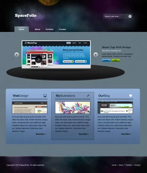 Deep in Space Portfolio Layout Design in Photoshop