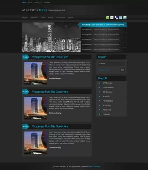 Make a Dark Blog Web Design Layout with Photoshop