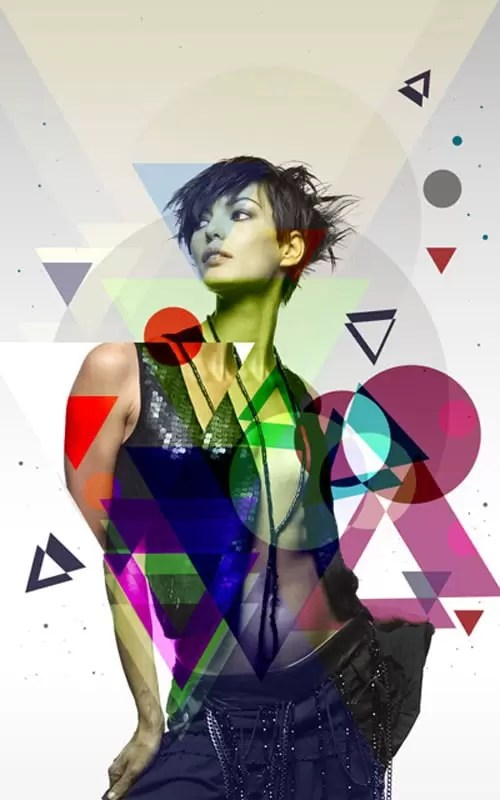 Blending fashion image with Photoshop CS5 custom shapes