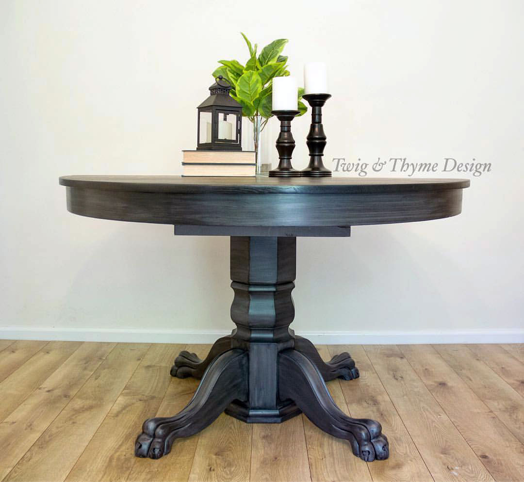Glazed Driftwood Table With Black Gel Stained Top