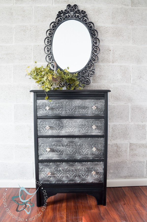 Decoupaged WallPaper Dresser with GF Chalk Style Paint and Pearl Effects  General Finishes