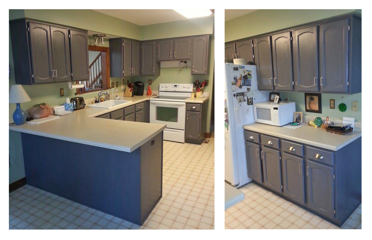 Kitchen Cabinets In Driftwood Gray Milk Paint Topped With High