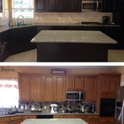 Gray Kitchen Backsplash Abt Appliance Packages Makeover In Espresso Water Based Stain | General ...
